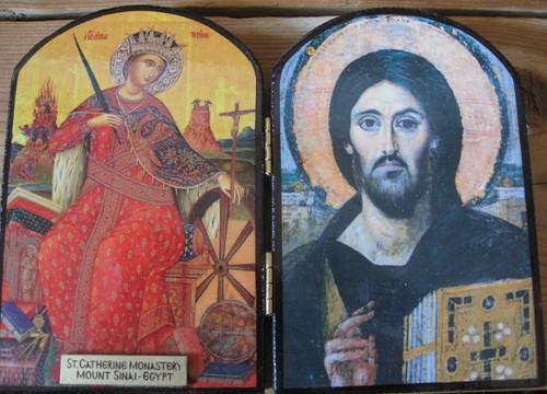 Suurmarttyyri Katariina ja Kristus Kaikkivaltias ikonit.