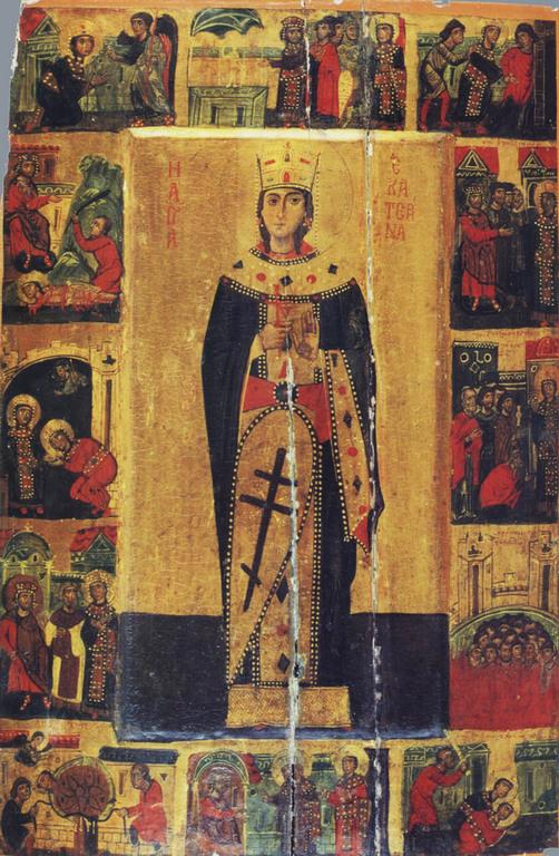 Suurmarttyyri Katariinan ikoni, jossa kuvattuna hänen elämänsä keskeiset tapahtumat.