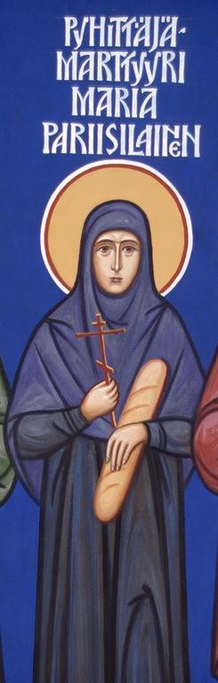 Seinämaalaus Pyhästä Maria Pariisilaisesta Tapiolan ortodoksisessa kirkossa.