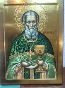 Pyhä Johannes Kronstadtilainen.  (Ikonikuva: Aristarkos Sirviö)