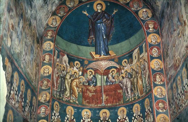 Isä Johanneksen tutkimuskohteen, Ohridin Perivleptos -kirkon apsis. (Kuva/Photo : isä Johanneksen valokuvakokoelmista.)