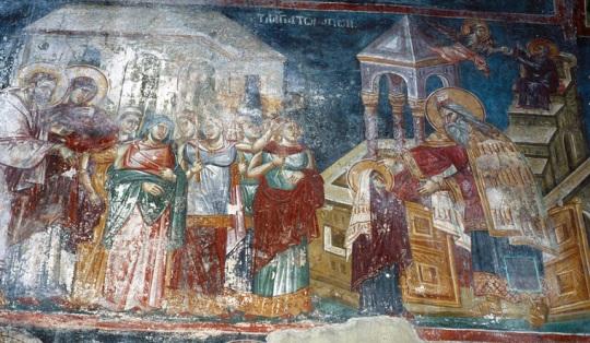 Neitsyt Marian temppeliin tuominen. Perivleptos-kirkko, Ohrid, Makedonia. 1295. (Kuva/Photo: ©Johannes Karhusaari )