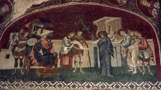 Maria kirjoittautuu veroluetteloon. Serbia, Kalenicin luostari. (1413). Kuva/Photo: Johannes Karhusaari.