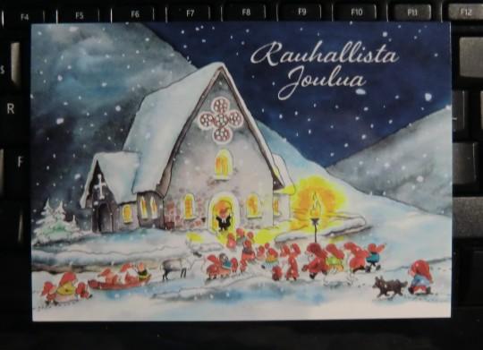 Paletti -joulukortti. Originaali Mauri Kunnaksen.