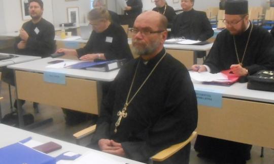 Isä Leo kirkolliskokouksessa Valamon luostarissa 2014. (Kuva/photo: Aristarkos Sirviö)