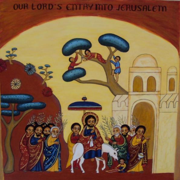 Herran ratsastus Jerusalemiin. Etiopialainen ikoni. (Kuva/Photo: Orthodox.net )