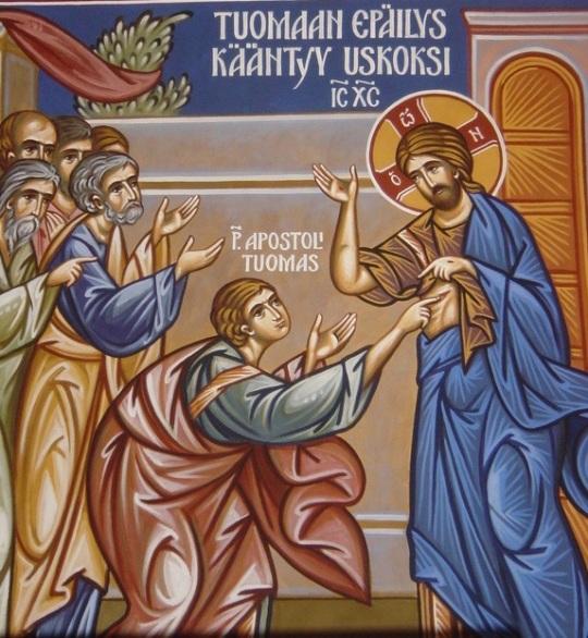 Ikonografi Alexander Wikströmin seinämaalaus Pt. Herman Alaskalaisen kirkossa Espoon Tapiolassa. (Kuva/Photo: Aristarkos Sirviö)
