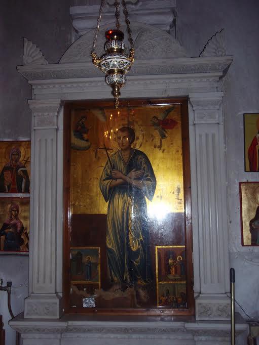 Pyhän Johannes Venäläisen ikoni Nea Prokopissa sijaitsevassa pyhälle omistetussa kirkossa.