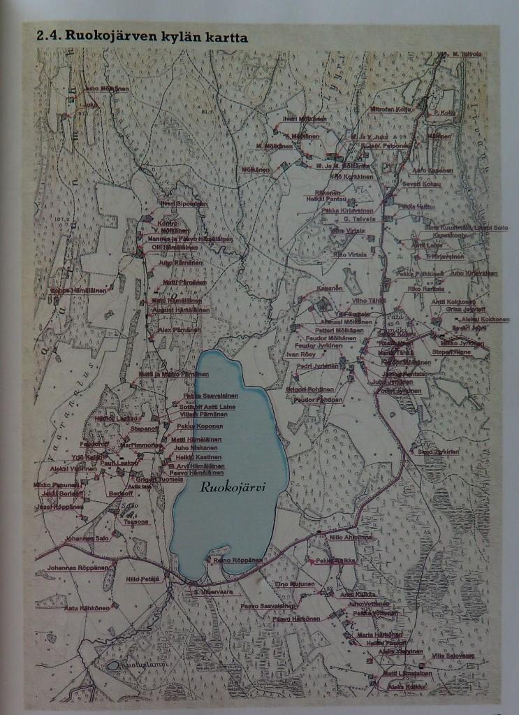 Ruokolahden kylän kartta. Nämä tienoot Jyrkisen suku joutui jättämään itärajan taakse... (Kuva/Photo:  käsiteltävästä teoksesta)