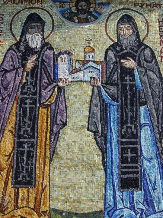 Pyhien Sergein ja Hermanin mosaiikki-ikoni Uuden Valamon luostarissa. (Kuva/Photo: Aristarkos Sirviö)