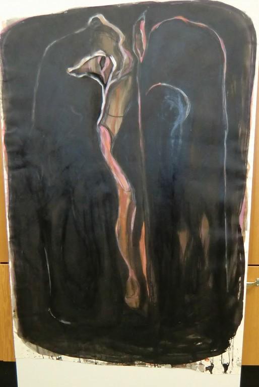 Teos Mirhamia III kulki työnimellä Suloinen jalka. Taiteilija kertoi sen valmistumisprosessista: Tuolloin ajattelin, etten ehkä koskaan enää maalaa mitään – ja sitten tyhjälle pinnalle tuli ensimmäisenä tämä suloisen Kristuksen jalka. Sen jälkeen alkoi syntyä muuta ja teoksen yläosahan viittaa jo aivan muualle. Mutta juuri tästä suloisesta jalasta koko prosessi lähti liikkeelle. (Kuva:Photo: Hellevi Matihalti )