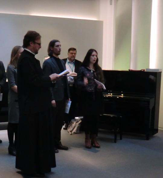 Juhlassa esiintyi ortodoksinen lauluryhmä, jossa lauloivat ylidiakoni Juha Lampinen, Rikhard Dahlström, Maija Nuorteva ja Emmi Matvejeff (Kuva/Photo: Hellevi Matihalti)