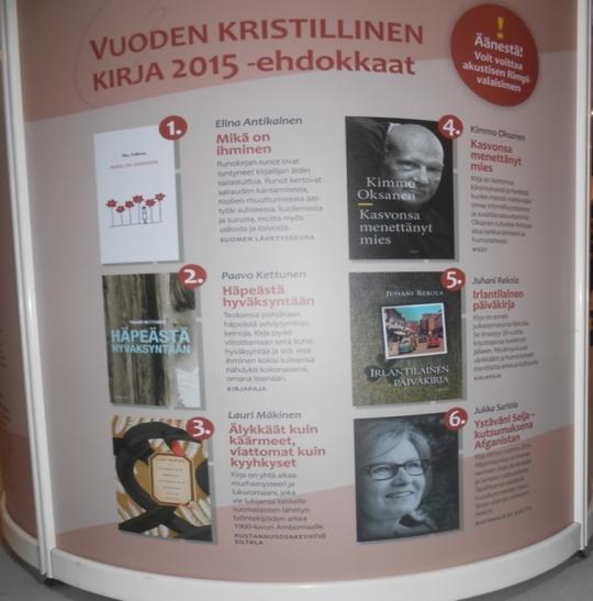 Ehdokkaat vuoden 2015 kristilliseksi kirjaksi. (Kuva/Photo Aristarkos Sirviö)