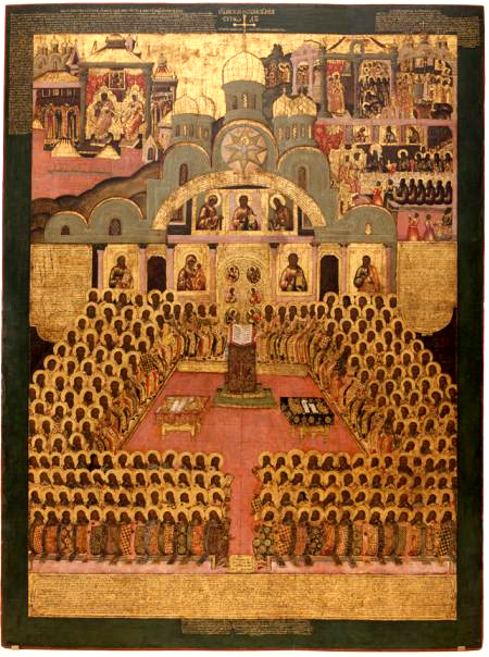 Nikean VII ekumeenisen kirkolliskokouksen 350 isää. (Ikonikuva/Photo: Orthodox.net )