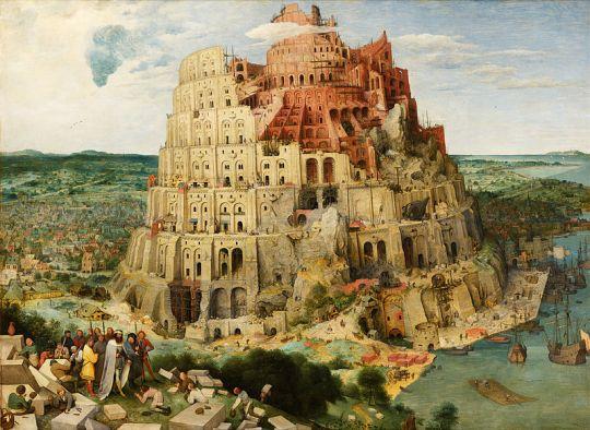 Pieter Brueghelin maalaus Baabelin torni vuodelta 1563. ( Kuva/Photo: wikiwand.com )