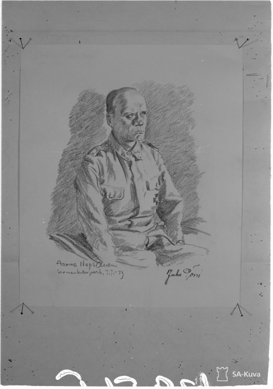 """Piirros Aarne Nopsanen: """"Juho Pössi. Sormenkärki 1943.07.07"" (Kuva/photo: SA-kuva )"