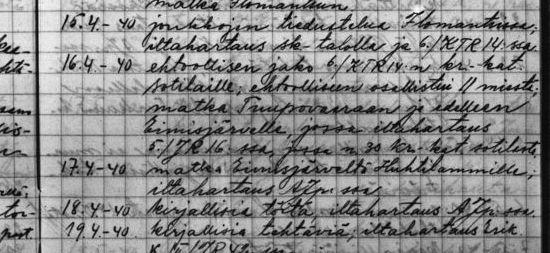 Merkintöjä ortodoksisen sotilaspapin sotapäiväkirjasta. (Kuva/Photo: Arkistolaitos )