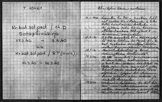 Ortodoksisen sotilaspapin sotapäiväkirja. (Kuva/Photo: Arkistolaitos )