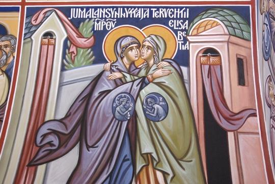 Alexander Wikströmin seinämaalaus Pyhittäjä Herman Alaskalaisen kirkossa Espoon Tapiolassa. (Kuva/Photo: Aristarkos Sirviö)
