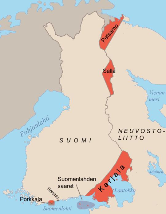 Kartassa punaisella merkityt alueet luovutettiin rauhansopimuksella Neuvostoliitolle. (Kuva/photo: Wikipedia)