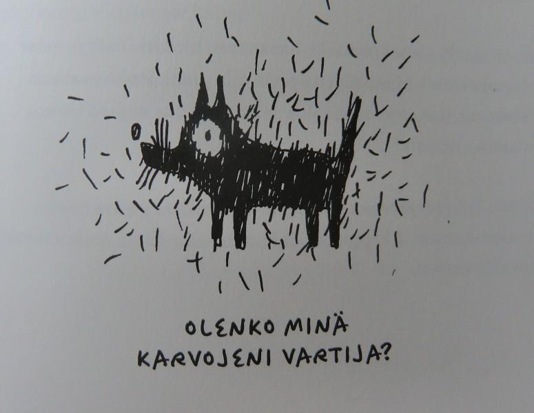 Katja Kuittisen mainiota kuvitusta Koiraihmisen rukouskirjaan.