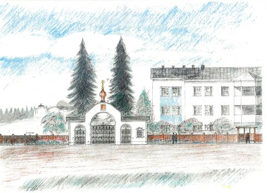 Arkkithti Sakari Siitosen suunnitelma luostarin pääportiksi. Portissa olevat takorautaisten osien malli on otettu vanhan Valamon pääkirkkoa kiertävästä aidasta. (Kuva/Photo: Valamon ystävät ry )