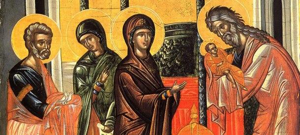 Lain ja kirjoituksien hämäryydessä me uskovaiset näemme kuvauksen: Jokainen miehenpuoli, joka esikoisena syntyy äidistä, on Herralle pyhitetty. Sen tähden me iankaikkisen Isän esikoista – Sanaa, neitseellisestä Äidistä syntynyttä esikoista Poikaa ylistämme. (Juhlan kanonin 9. veisu) Kuvassa yksiyiskohta juhlan ikonista. (Kuva/Photo: OCA)